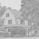 Dutch Colonial Revival with its arch'l features: gambrel gable, shed dormer